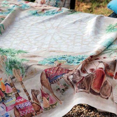 Tessitura Toscana tovaglia cammelli