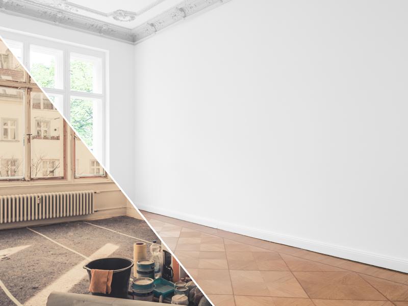 un appartamento diviso a metà, con da una parte la stanza danneggiata da tempo e umidità, dall'altra la stanza rimodernata e pulita