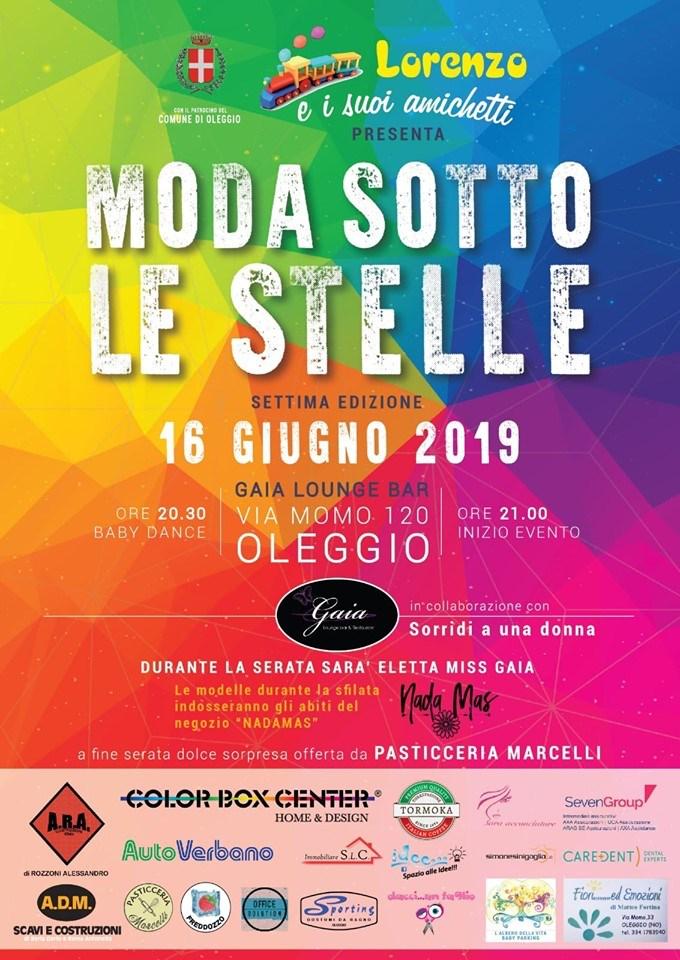 locandina della sfilata Moda sotto le stelle Oleggio 2019